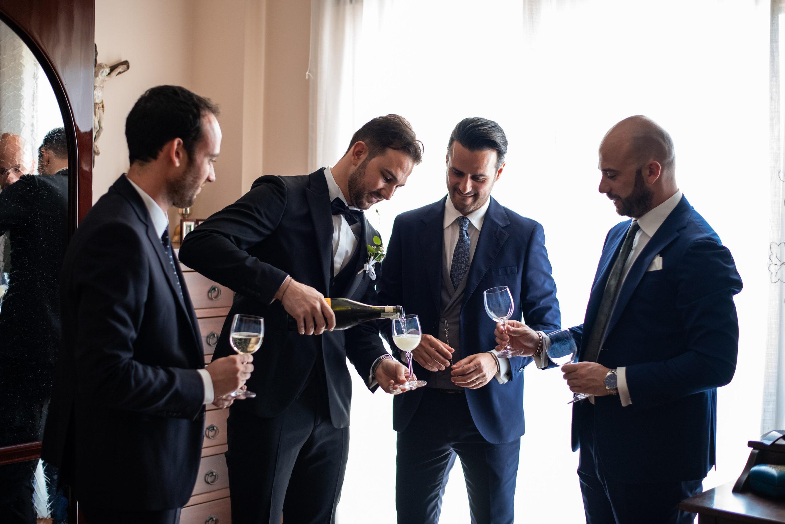 Groom Cheering With Best Men