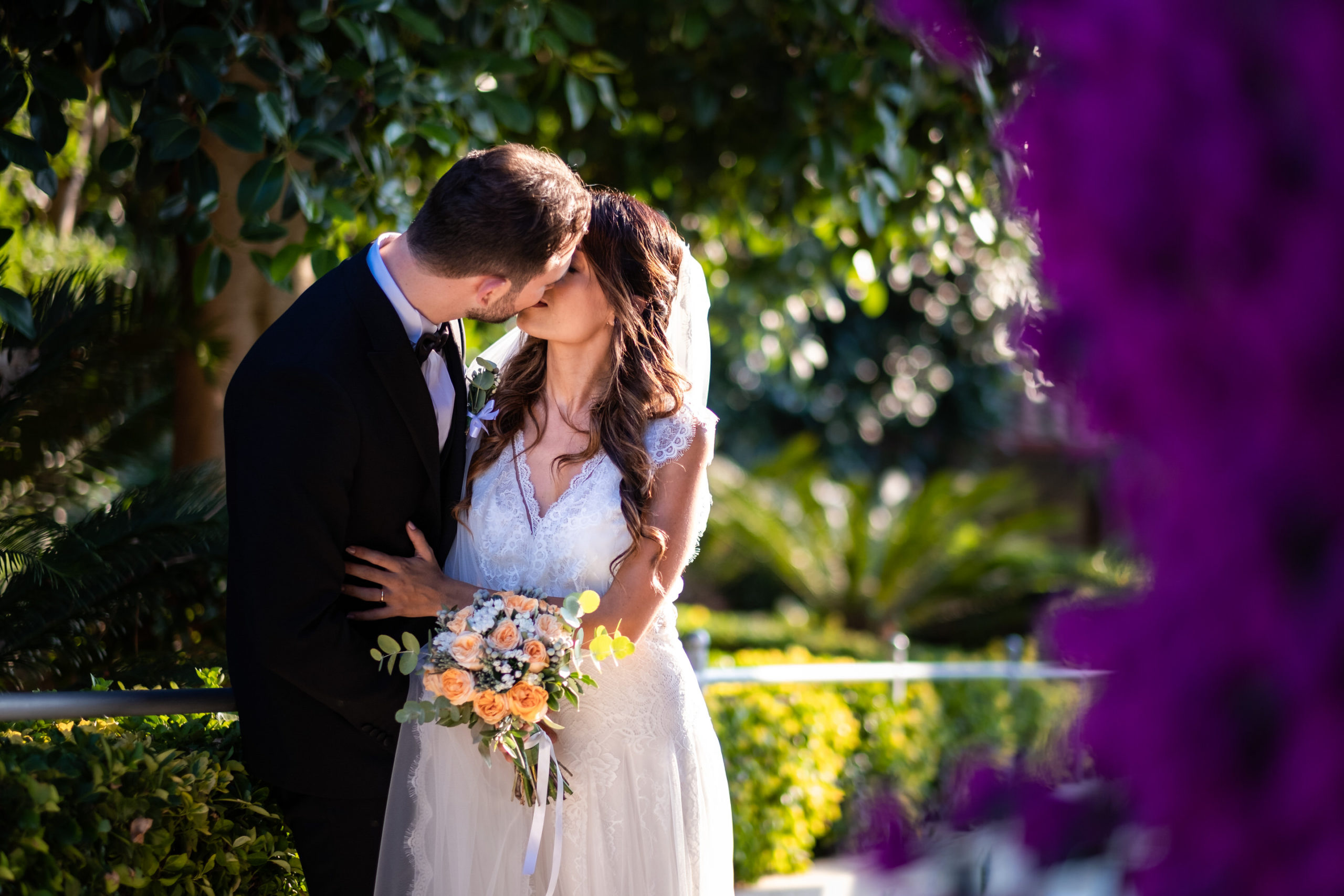 wedding in diamante calabria italy Bride And Groom Kissing Portrait